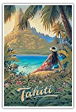 Pacifica Island Art Tahiti - Île du Paradis - Îles de la Société - Affiche de Voyage du Monde de Kerne Erickson - Master Art Print 33 x 48 cm