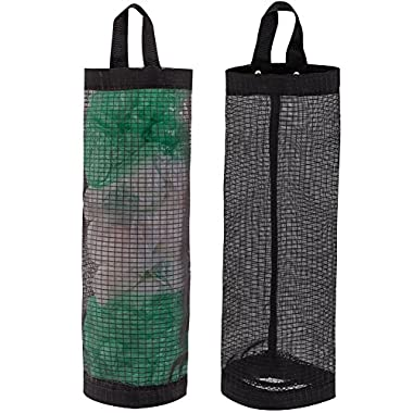Bag Holder for Plastic Bags, 2 Pcs Polyester Grocery Bag Holder Plastic Dispenser Foldable Breathable Washable Hanging Mesh Garbage Bag Organizer for Kitchen Plastic Bag Storage (Black)