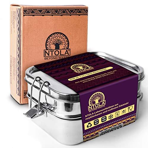 NTOLA 3-in-1 Brotdose Edelstahl Kinder | 1550ml Lunchbox aus Metall | Auslaufsicher & klimaneutral | Gross mit 3 Fächer & herausnehmbare Dichtung | Vesperdose für Schule & Arbeit