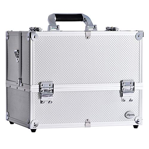 """14"""" Makeup Train Case Large 6 Tray Professional Organizer Box - Cosmetic Make Up Carrier with Lock & Key Carrying Strap and Adjustable Dividers for Studio Artist & Stylist Silver"""