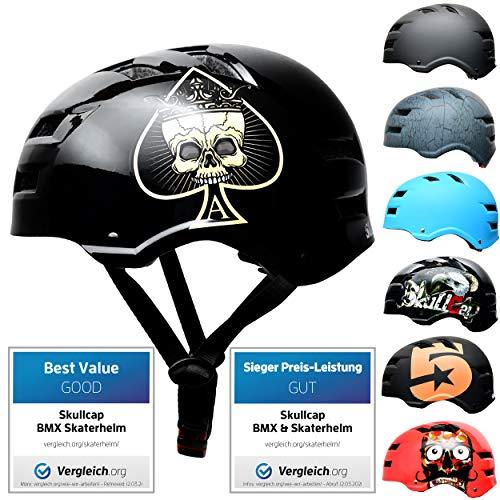 SkullCap® BMX & Casco per Skater Casco - Bicicletta & Monopattino Elettrico, Design: Ace of Spades, Taglia: 58-61 cm