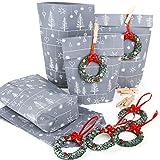 Sacchetti regalo grigio argento bianco confezione Natale sacchetto + rosso verde corona di Natale ciondolo clienti regalo natalizio confezionato 10 pezzi silber grau weiß