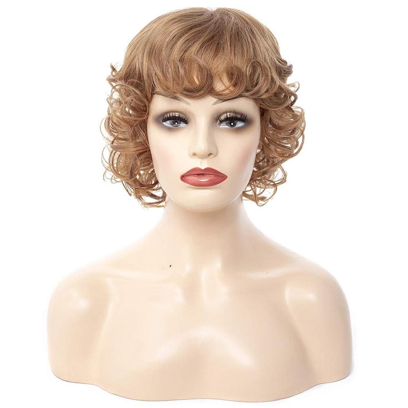 ミルクかすかな権利を与えるYOUQIU 女子ショートウィッグヘアスタイリング全波状カーリーヘアブロンドレディースウィッグウィッグ (色 : Blonde, サイズ : 30cm)