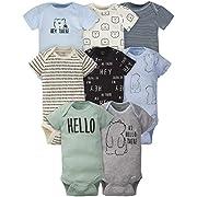 Gerber Baby Boys' 8 Pack Short-Sleeve Onesies Bodysuits, Bear, Preemie