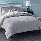 Bedsure Queen Comforter Set, Bed Comforter Queen Set, Grey Comforter Queen Set, Cationic Dyeing Queen Comforter with Pillow Shams(Queen/Full, 88x88 inches, 3 Pieces)