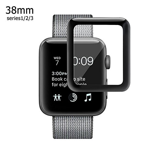 Apple Watch 38mm 3D Screen Protector (Series 1, Series 2, Series 3), Atill Tempered Glass Screen Protector [Anti-scratch] [Bubble-free] for Apple iWatch [1 Pack, Black]