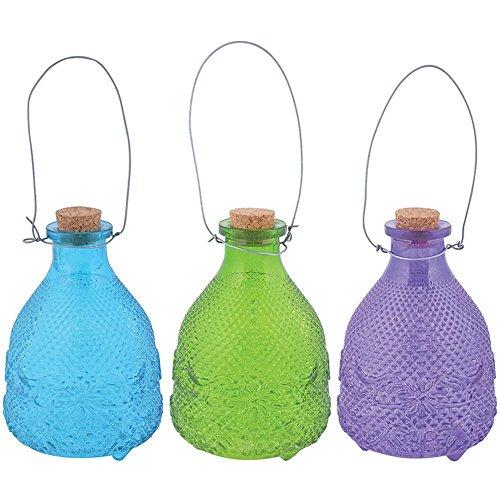 Esschert Design Piège à guêpes hobnail 3 couleurs en verre liège et fil, 9,8 x 9,8 x 14,1 cm - Prix par article!