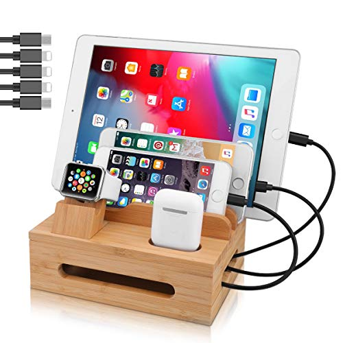MHOM Bamboo Charging Station for Multiple Devices, 4/5/6 Port Desktop Docking Station Universal Cord Organizer with Watch Stand for Cellphone, iPad, Tablet, Apple Watch (5 Cables Included)