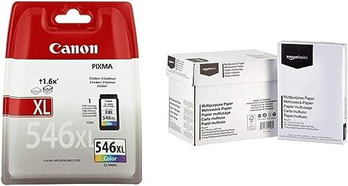 Canon CL-546XL Cartouche Couleur XL (Pack Plastique sécurisé) & Amazon Basics Papier multiusage A4 80gsm, 5x500 Feuil...