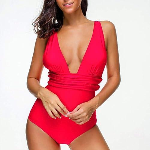 Circlefly Vacances Sexy Pool Queen Retro rosée retour profonde V maillot de bain petite poitrine maigre triangle maillot de bain femme