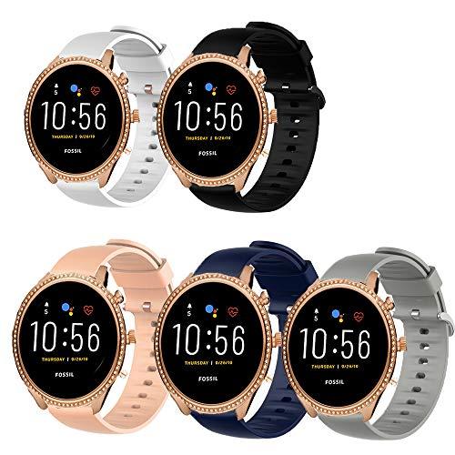 LvBu Armband Kompatibel Für Fossil Julianna HR, Sport Silikon Classic Ersatz Uhrenarmband Für Fossil Gen 5 Julianna HR (5 Pack)