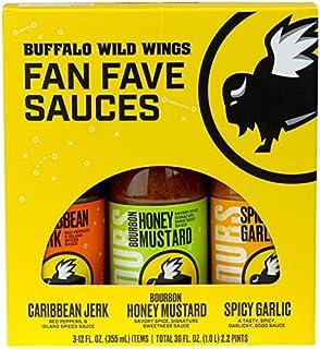 Buffalo Wild Wings Fan Fave Sauces - Caribbean Jerk, Bourbon Honey Mustard, and Spicy Garlic - Three 12 fl. oz. Bottles