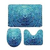 PotteLove Frozen Oval Mandala 3 Piece Bathroom Rug Set Bath Mat Shower Rug, U Shaped Contour Mat, Lid Cover Non-Slip with Rubber Backing 20' x 32'