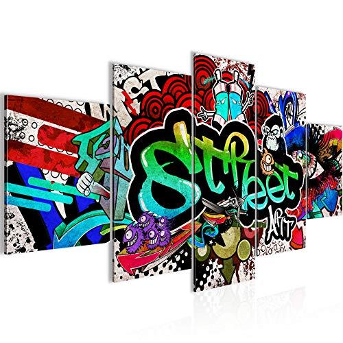 Bilder Graffiti 5 Teilig Bild auf Vlies Leinwand Deko Wohnzimmer Street Art Bunt 004552a