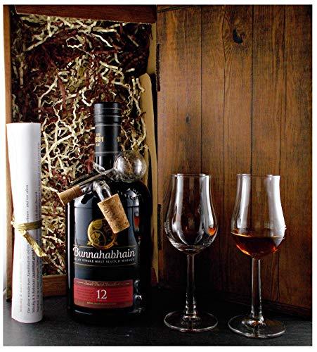 Geschenk Bunnahabhain 12 Jahre Single Malt Whisky + Glaskugelportionierer + 2 Whiskey Gläser