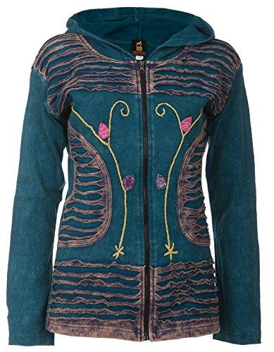 Patchwork-Strickjacke | Hippie-Style | Modell Flower Power | Damen | Goa-Jacket | Cutwork | Kapuzen-Sweatjacke | Individuell | Handarbeit aus Nepal