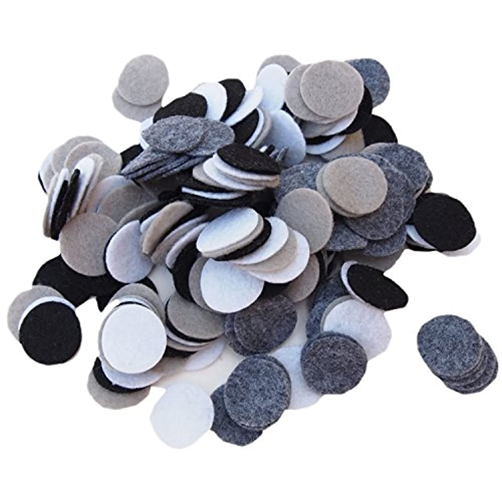 Playfully Ever After 3/4 Inch 300pc Felt Circles Color Combo Pack with Black, White, Gray, Charcoal