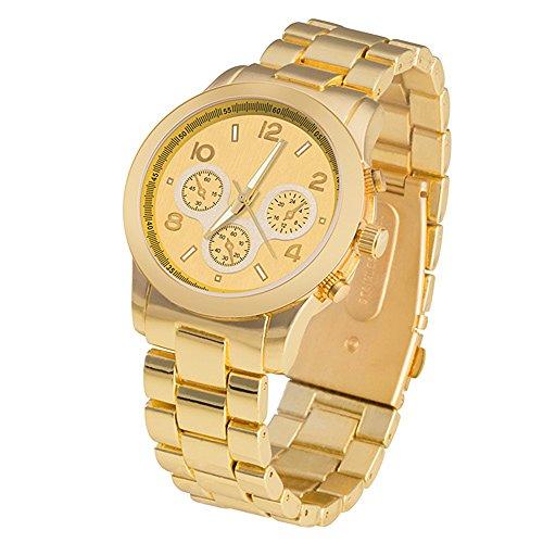 Taffstyle Damen-Armbanduhr Analog Quarz mit Metall-Armband Chronograph Optik Uhr Uhr Gold
