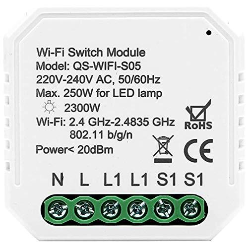 TOOGOO Interruptor de Luz Inteligente WiFi MóDulo de Interruptor de Bricolaje Smart Life/Tuya APP Control Remoto, Trabajando con Alexa Echo Home