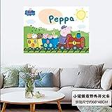 Cartoon süße Ferkel Kinder Zimmer Dekoration Wandpaste junge Mädchen Zimmer Dekoration Peppa Schwein Familie selbst klebende Wandpaste A Zug A099