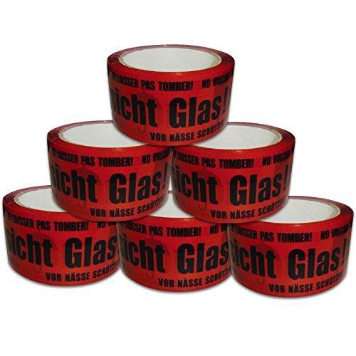 6 Rollen Paketklebeband Vorsicht Glas Paketband Packband rot schwarz VG laut abrollend von Versando