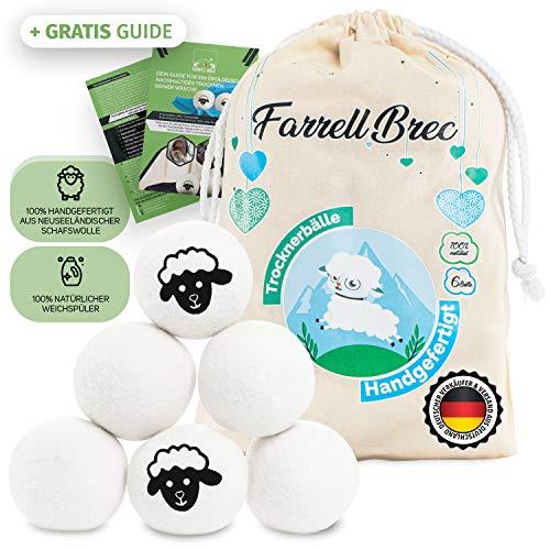 Farrell Brec [6 XXL] extra langlebige Trocknerbälle für Wäschetrockner - natürlicher Weichspüler aus 100% neuseeländischer Schafswolle - in Handarbeit – optimal für Daunen