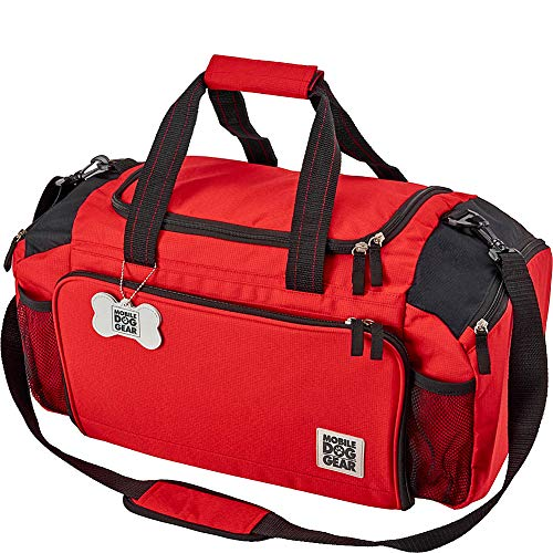 Overland Dog Gear Dog Travel Bag - Ultimate Week Away Duffel For Med And Large Dogs - Includes Bag, 2 Lined Food Carriers, Placemat, and 2 Collapsible Bowls Red