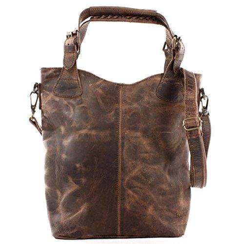 LECONI Henkeltasche Echtleder Vintage-Look Damentasche für Shopping Handtasche für Damen Leder Shopper mit Trageriemen Beuteltasche für die Arbeit, Büro oder Alltag 34x35x10cm schlamm LE0054-wax