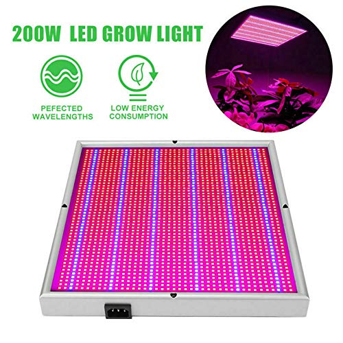 NJStar LED Plant Grow Light,200W LED Grow Light Lamp Panel for Indoor Hydroponic Medicinal Plant Flower Bloom?LED Growing Lamp for Hydroponic Indoor Plants Veg and Flower