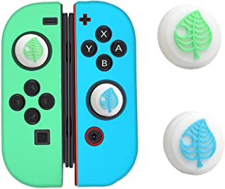 Switch Thumb Grip Caps Joystick Cap for Nintendo Switch & Lite Animal Crossing Tree Leaf Design (2 PCS White), Soft Silicone case for Joy-Con Controller