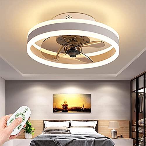 Ventilador de techo LED con iluminación, anillo moderno ventiladores de techo invisibles con lámparas, control remoto Dimmable 3 Color Cambiable y 6 Velocidad de viento para sala de estar