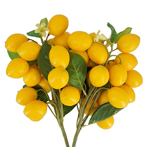 LESHABAYER Artificial Lemon Bunch Branch Garland Vine Wreath Lifelike Fake Fruit Props Home Garden Wedding Party Decoration (2pc Lemon Bunch)