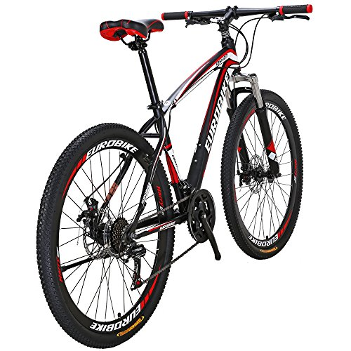 Eurobike Bikes HYX1 27.5 Inches Muti Spoke Wheels 21 Speed Mountain Bike Dual Disc Brake Bicycle BlackRed