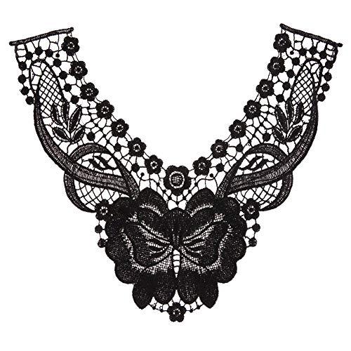 PULABOFloral Encaje Collar Trim, Floral Bordado Collar Apliques Escote Parche Nupcial Applique Encaje Ropa Costura Aplique Negro Rentable y Buena Calidad
