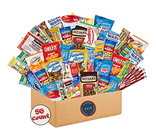 Variety Snack Packs (50 Count) Ultimate Care Package Gift Basket for College Students, Birthday Gift...