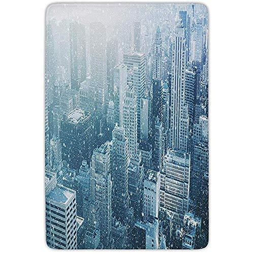 FANCYDAY badkamer tapijt, Winter, sneeuw in New York City beeld Skyline met stedelijke wolkenkrabbers in Manhattan Verenigde Staten decoratieve, flanel microvezel