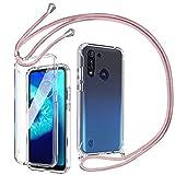Mkej 360 Grad Handykette Hülle kompatibel mit Motorola Moto G8 Power Lite, Hybrid R&um Doppel-Schutz Cover Smartphone Necklace Handyhülle mit integriertem Bildschirmschutz [Einteiliges Design]