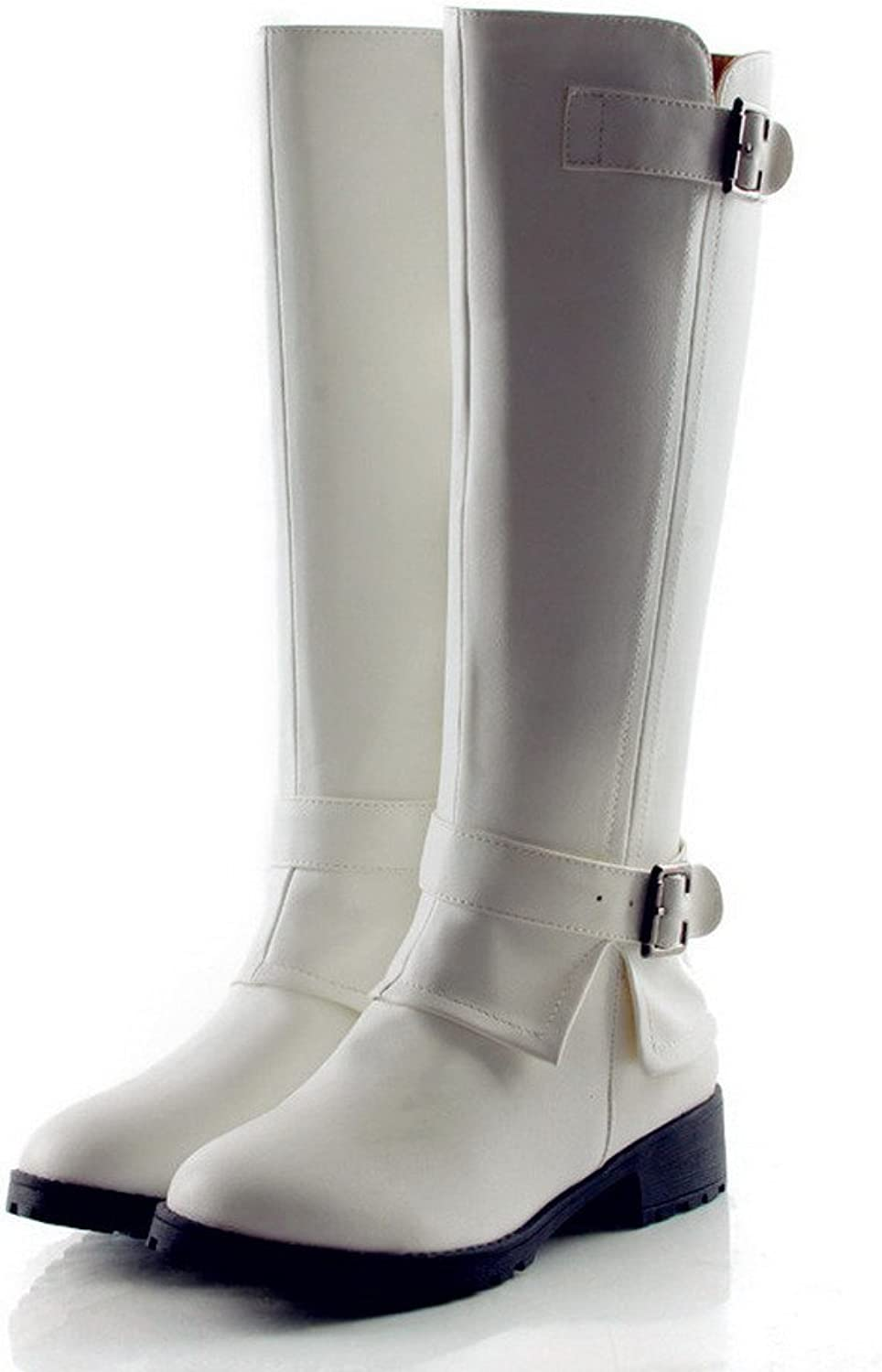 QueenFashion Women's Close Round Toe Adjustable Strap Square Heels PU Knee Boots with Zipper and Buckle