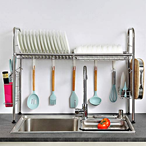 MAXCOOK Over The Sink Dish Drying Rack 2 Tier Stainless Steel Multi Functional Large Dish Dryer product image