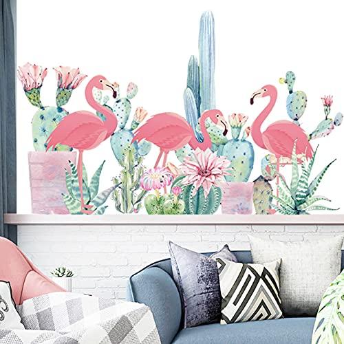 Flamenco y Selva Tropical Etiqueta De La Pared,Pegatinas de Pared Planta,Vinilos Decorativos Infantiles para Niños Habitación Dormitorio Sala de Estar
