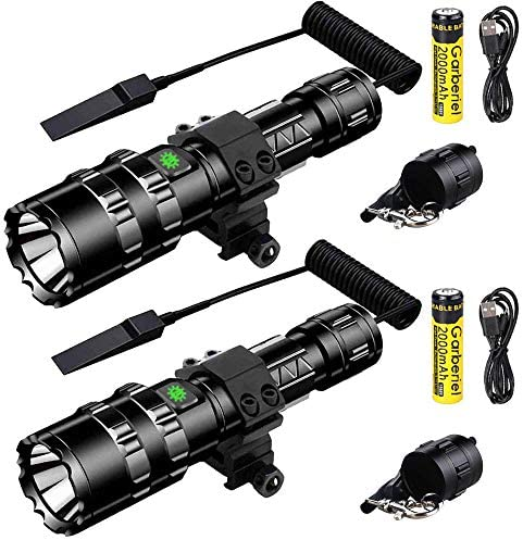 Garberiel 2 Pack LED Hunting Flashlight with Picatinny Rail Mount and Tactile Pressure Switch product image