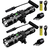Garberiel 2 Pack LED Hunting Flashlight with Picatinny Rail Mount and Tactile Pressure Switch for...
