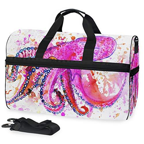 Montoj Wasserfarben-Gemälde mit großen, bunten Oktopus-Reisetasche aus Segeltuch