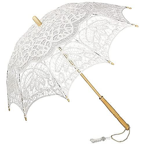 VON LILIENFELD Sombrilla Encaje Boda Nupcial Parasol Decoración Mujer Vivienne , blanco