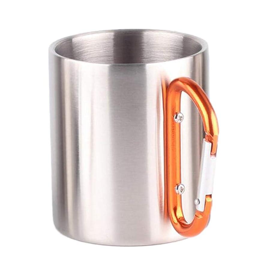 スキム純粋に潜在的なステンレス カラビナ 温水 カップ 二重壁 断熱 ビールマグ 280ミリリットル 全5色 - オレンジ