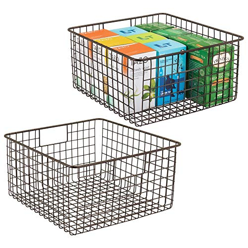 mDesign Farmhouse Decor Metal Wire Food Storage Organizer, Bin Basket with Handles for Kitchen Cabinets, Pantry, Bathroom, Laundry Room, Closets, Garage - 12' x 12' x 6' - 2 Pack - Bronze