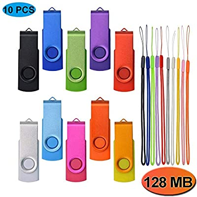Kepmem 10/20/50/100 Pack Small Capacity 32MB/64MB/128MB/256MB/512MB Swivel 10 Assorted Colors USB 2.0 Flash Drives from Kepmem