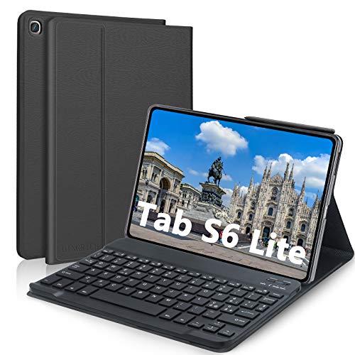 D DINGRICH Custodia con Tastiera per Samsung Tab S6 Lite 10.4 Pollice, Cover con Tastiera Italiana QWERTY Wireless Rimovibile Magnetica per Samsung Galaxy Tab S6 Lite 2020 SM-P610 P615, Nero