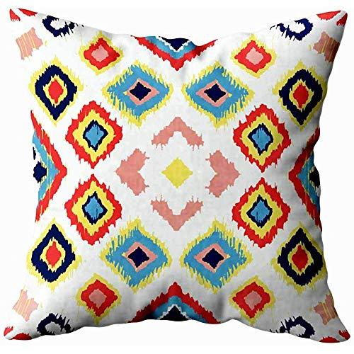 jonycm Pillowcase Ornement Folklore Géométrique avec Diamants Texture Ethnique Tribal Motif Rayé...