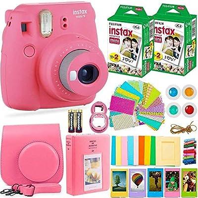 FujiFilm Instax Mini 9 Instant Camera + Fuji Instax Film (40 Sheets) + Batteries + Accessories Bundle - Carrying Case, Color Filters, Photo Album, Stickers, Selfie Lens + More (Flamingo Pink) by FUJIFILM